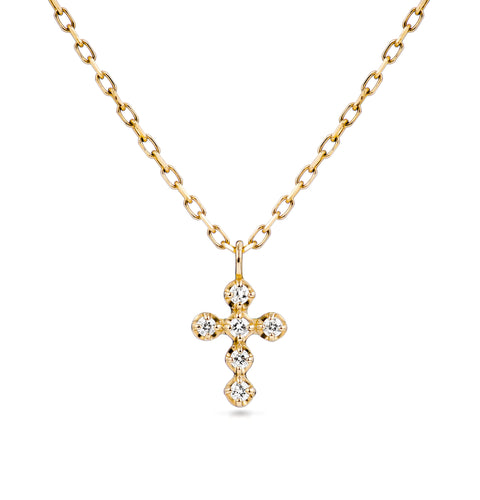 Classic Gold Petite Diamond Cross Necklace