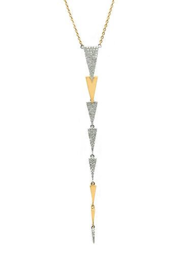 Classic Chandelier Dangling Trinity Triangle Diamond Necklace Mix Gold Colours