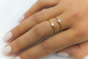 Classic Milgrain Bezel Setting Diamond Gold Ring