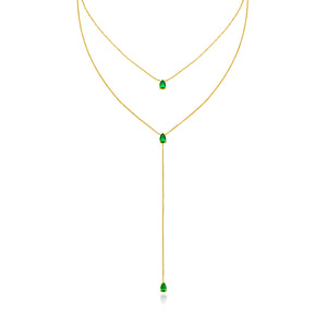 Classic Double Layer Tear-Drop Emerald Necklace