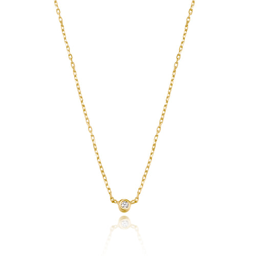 Classic Petite Diamond Bezel Setting Necklace