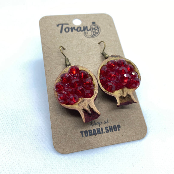 Real Half Pomegranate Earings