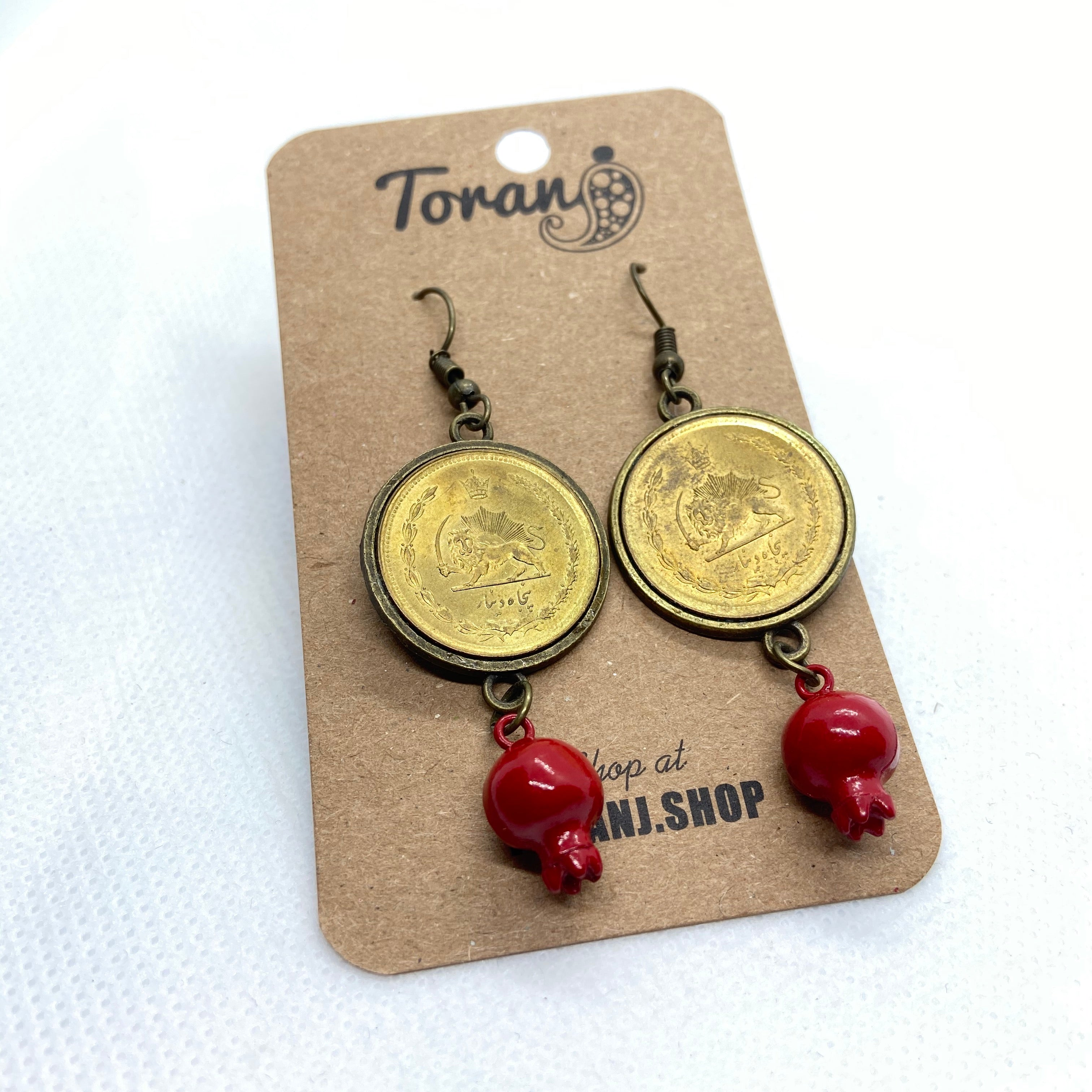 50 Dinar Coin Earring with Pomegranate