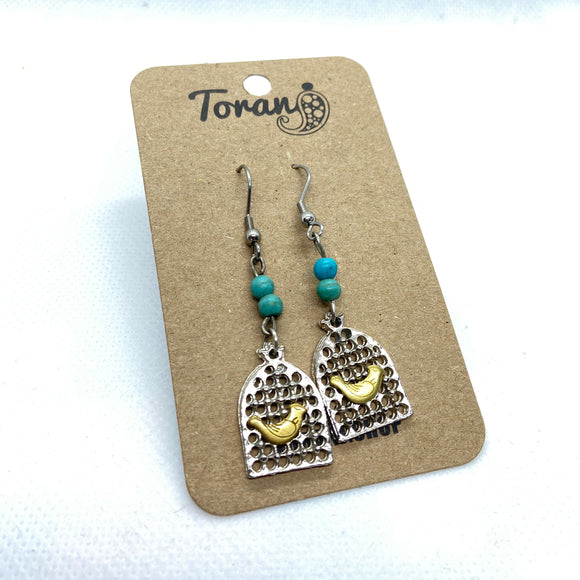 Bird and Cage Earring