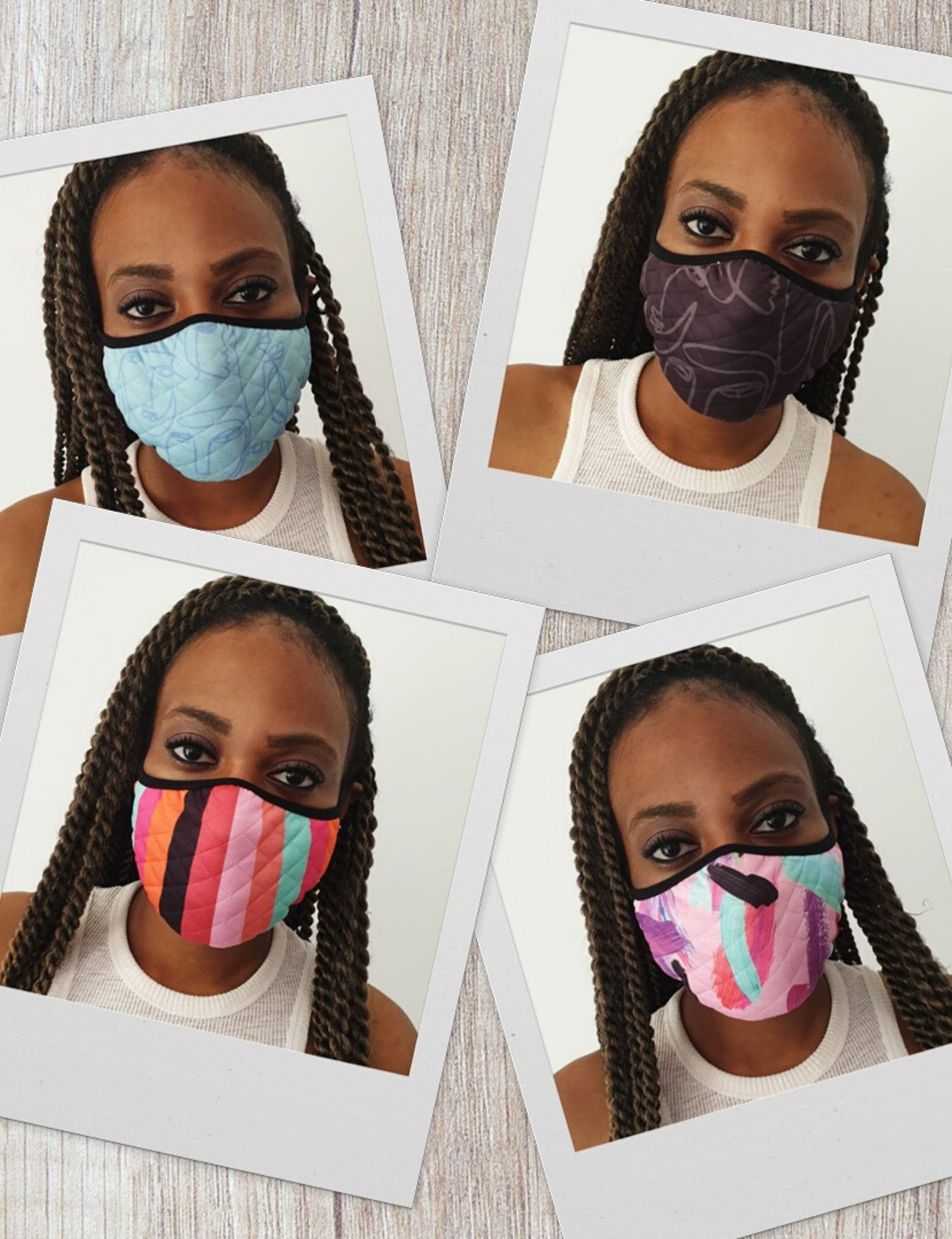 Art Print Washable & Reusable Face Masks (Pack of 4)