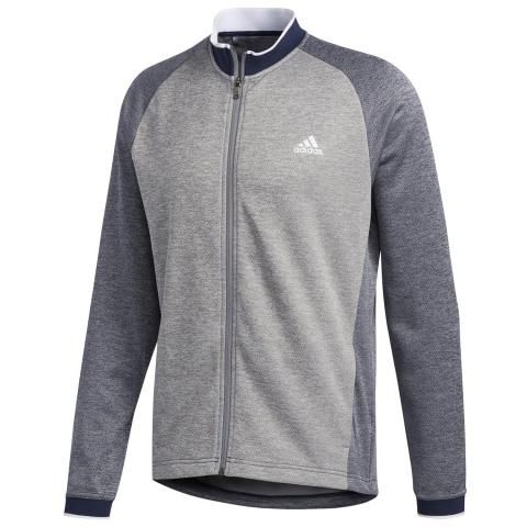 Adidas Performance Midweight Full Zip Sweater - Grey/ Navy