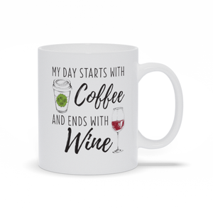My Day Starts With Coffee - Classic White Mug