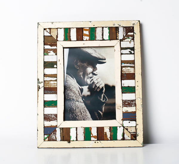 Recycled wood picture frame Mosaic Green