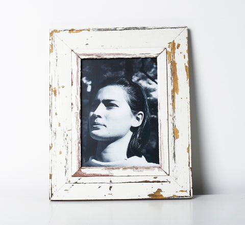 Recycled wood picture frame A4 White
