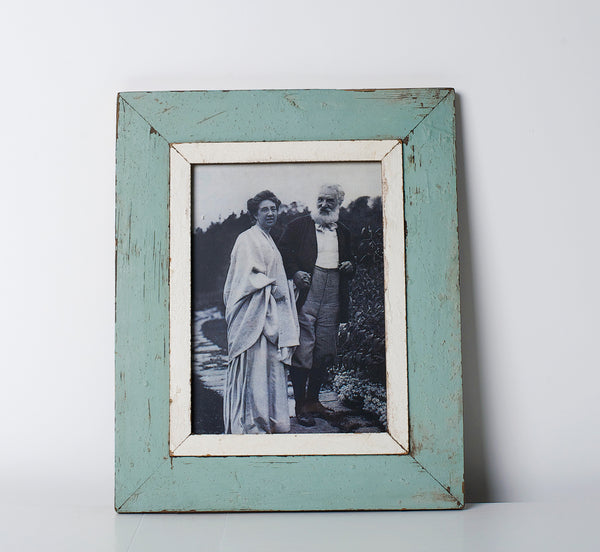 Recycled wood picture frame A4 Blue