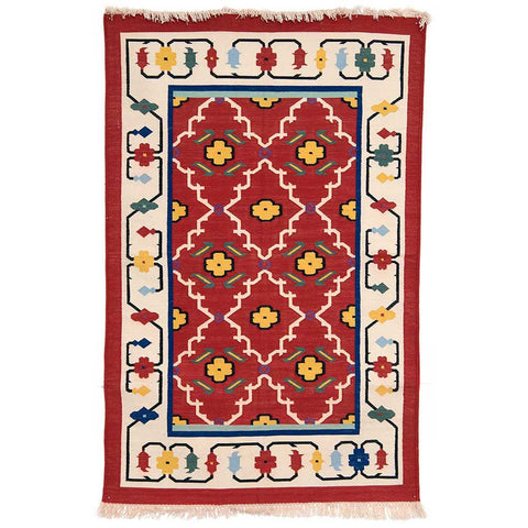 Handmade cotton rug - Bright red & off-white