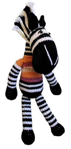 Knitted toy zebra