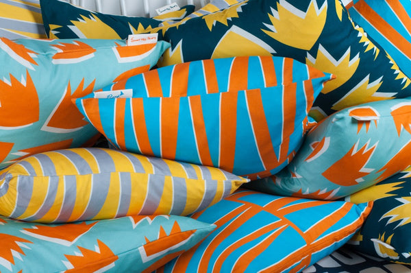Cushion Spring in Pale Turquoise & Orange