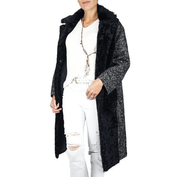 Shearling Oversize Coat with Wool