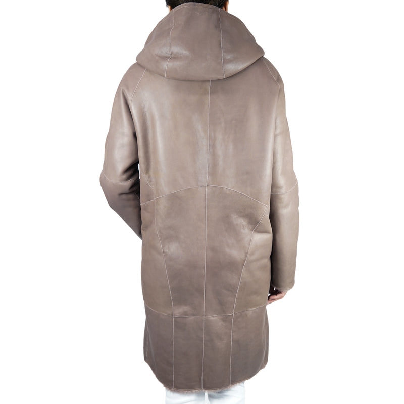 Reversible Shearling Hooded Coat