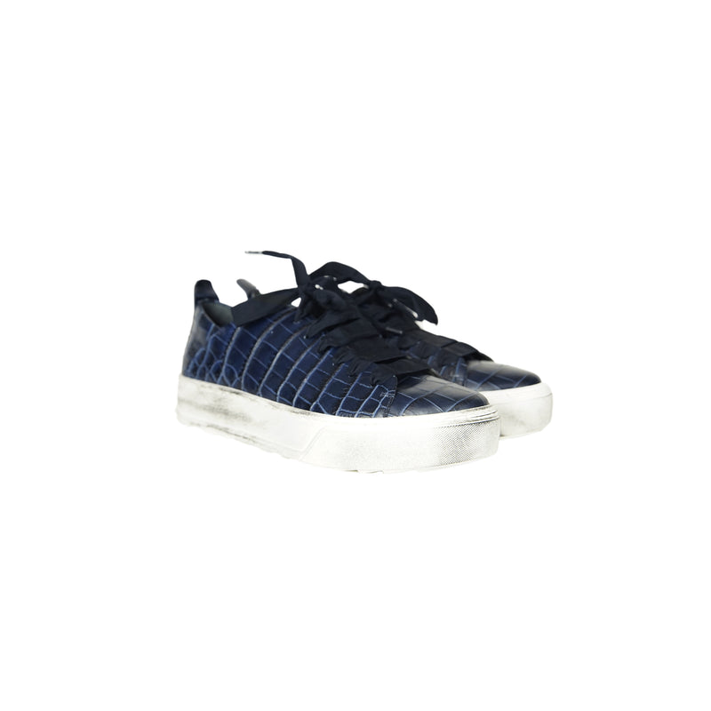 Printed Croco Lace-Up Sneaker Inchiostro