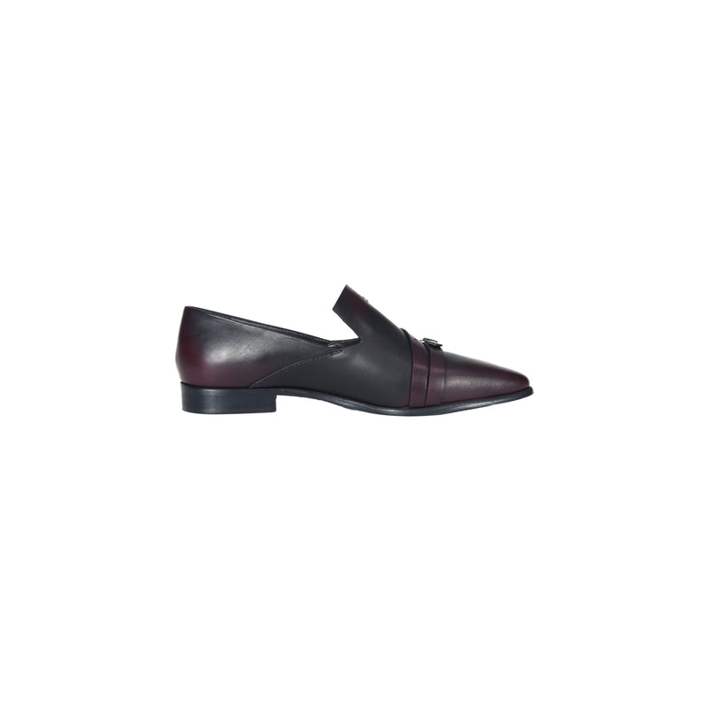 BUCKLE EMBELLISHED POINTED LOAFER CHIANTI