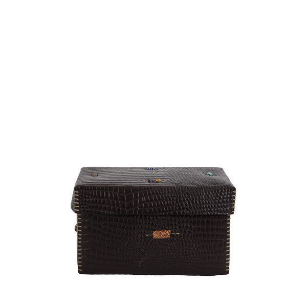 Scatola Murrine M Stamped Crocodile Black