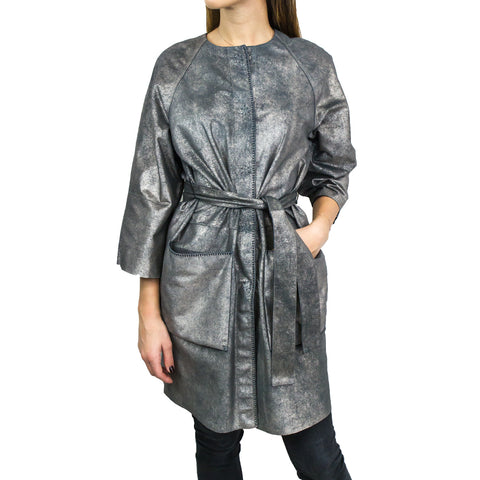 Overcoat Reversible Nappa Metal Platinum/Blue