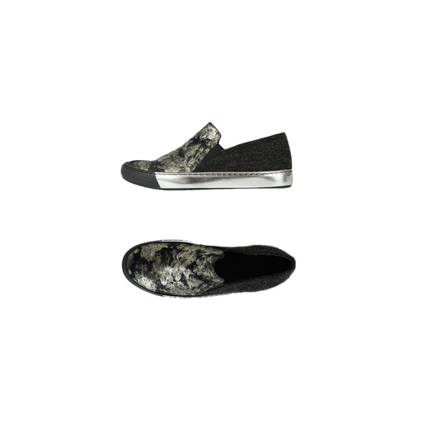 Slip On Stampa Fiori and wool Nebbia