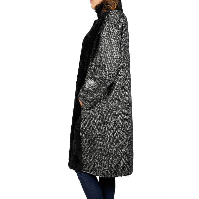 Shearling Wool Blend With Stand-up Collar Coat