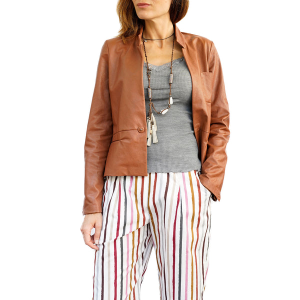 Leather Blazer Jacket Cuoio