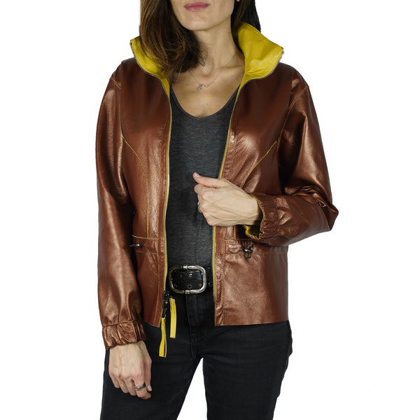 Reversible Leather Jacket Curry Bronze