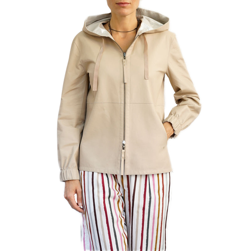 Reversible Leather Hoodie Jacket Beige