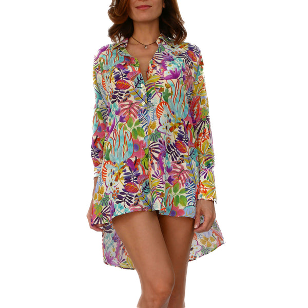 Blooming Silk Long Shirt