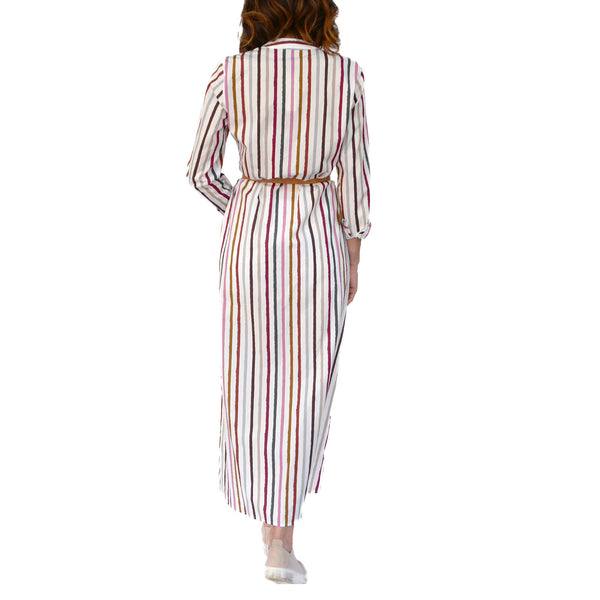 Striped Button-Down Long Dress Multicolor