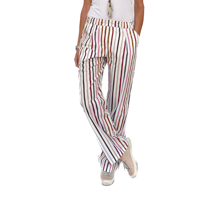 Striped Cotton Pull-On Pants
