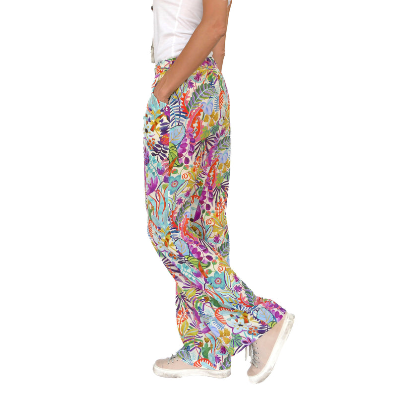 White Blooming Silk Pull-On Pants