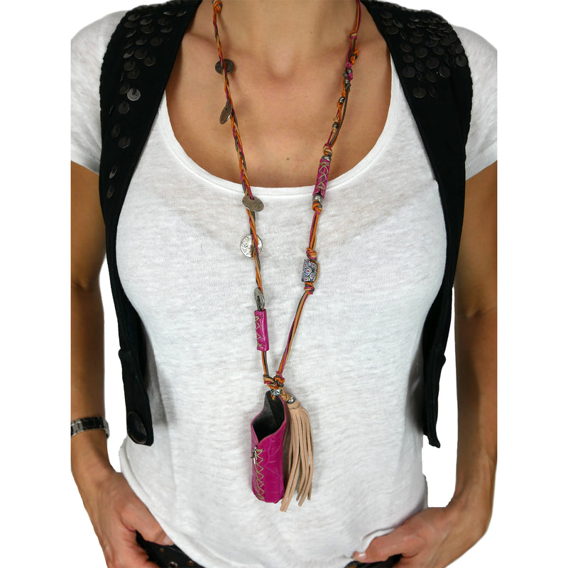 Necklace Glossy Printed Croco Ciclamino