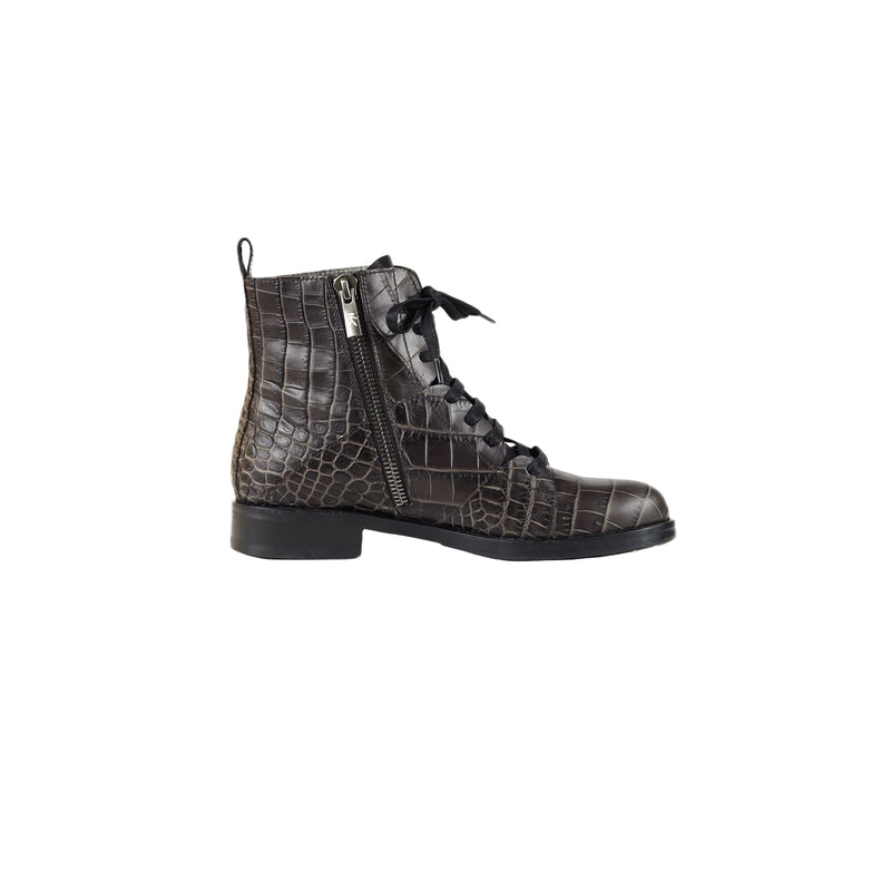 Printed Croco Lace-Up Bootie T. Moro