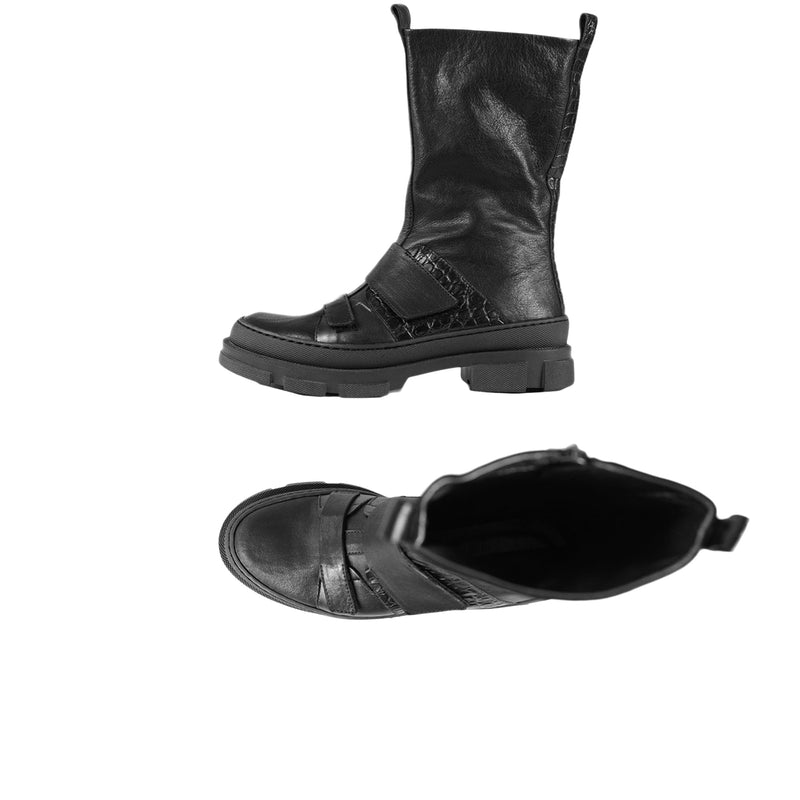 Straps Mid-Calf Boot Black