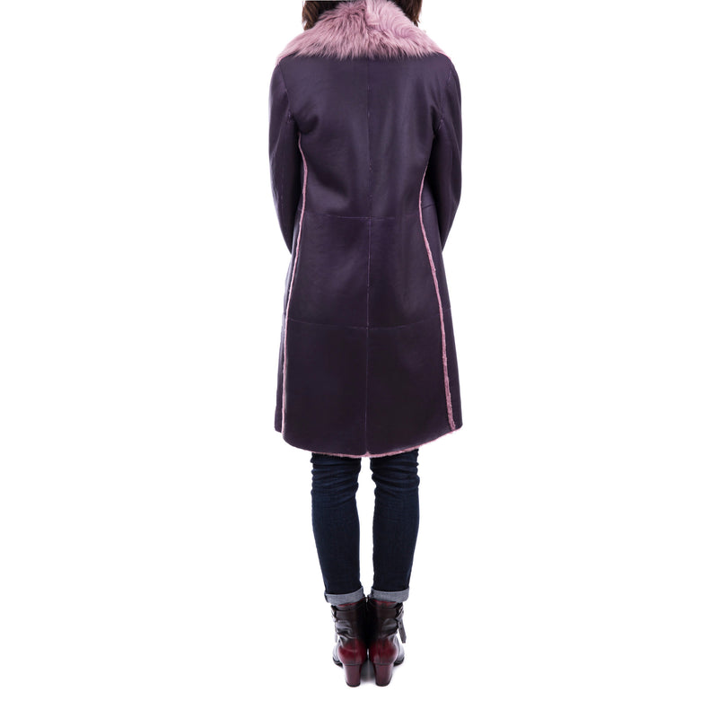 Reversible Shawl-Collar Coat Merinillo Pacaja Cassis