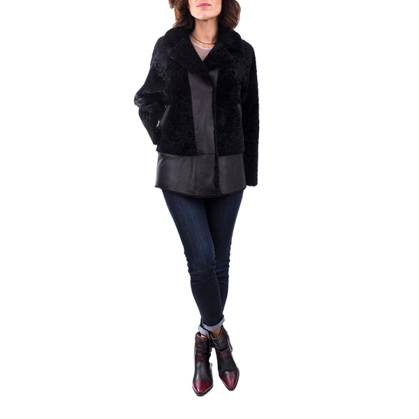 Reversible Lamb Jacket with Fur Pacaja Nero