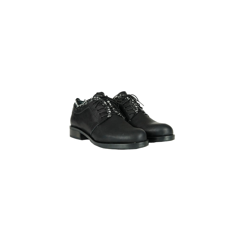 Tweed Lace-Up Shoes Messico Nero