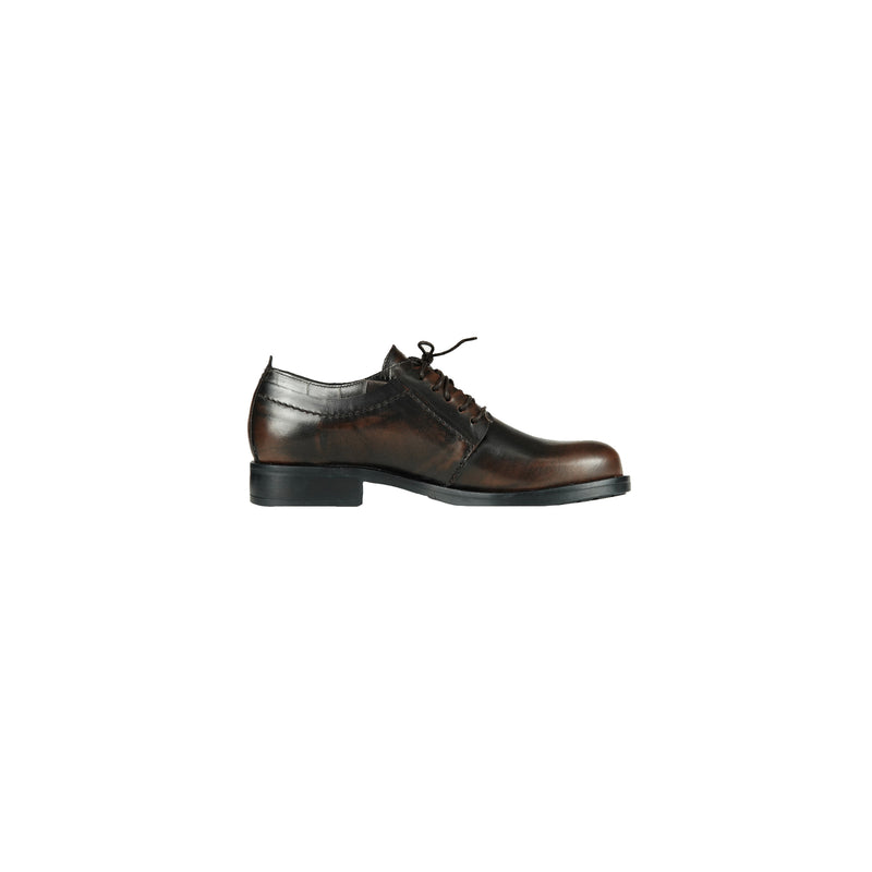 Tweed Lace-Up Shoes Spazzolato Brandy