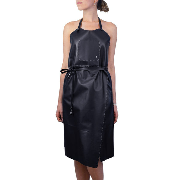 Leather Apron Dress Black