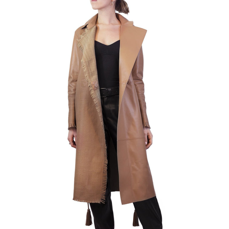 Woven Leather Trench Nappa Cuoio