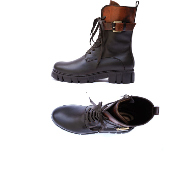 Brushed Leather Combat Boot Mattone