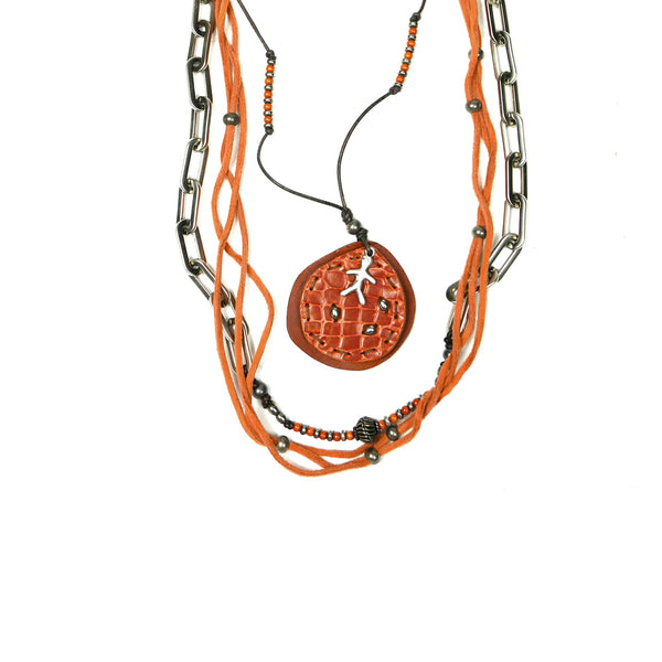Necklace Taty Printed Croco Orange
