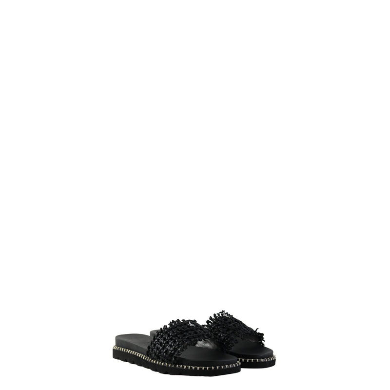 Slipper Intreccio Rete Nero