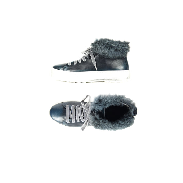 High-Top Fur Sneaker Sfumato Inchiostro