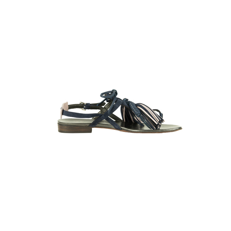 Thong Sandal Nappine Suede Inchiostro