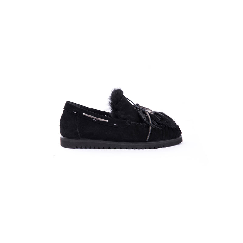 Car Shoe Fur Camoscio Nero
