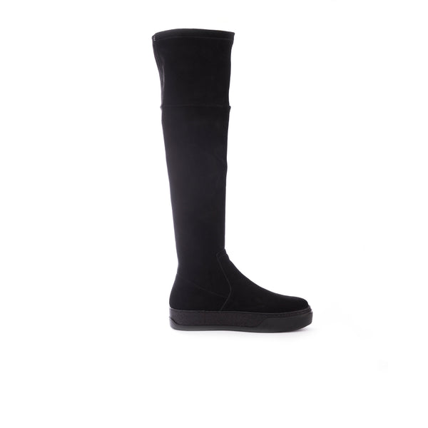 Over-the-knee Boot Stretch Camoscio Nero