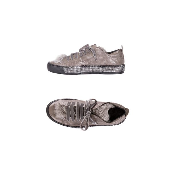 Sneaker Fur Metal Wash Lapin Antracite