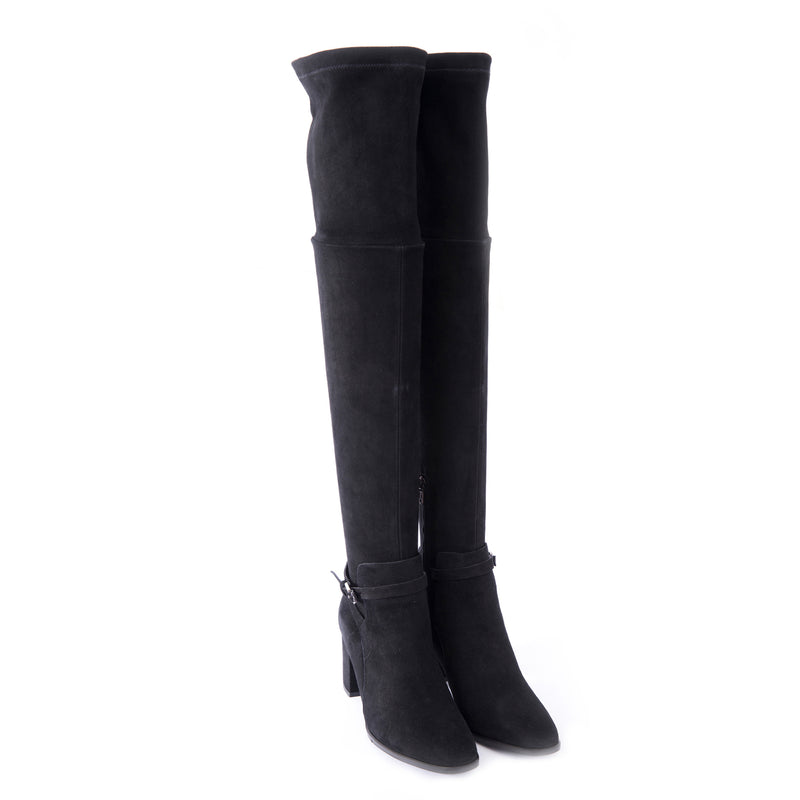 Over-the-knee Heeled Boot Stretch Camoscio Nero